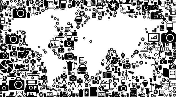 welt karte fotografie schwarz und weißen vector icons hintergrund - bildformate stock-grafiken, -clipart, -cartoons und -symbole