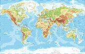 World Map Physical Topographic - Vector Detailed Illustration