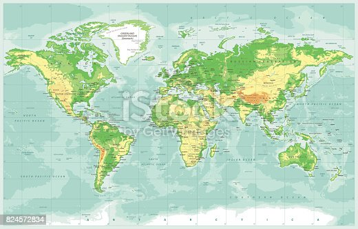 World map physical vector stock vector art 824572834 istock gumiabroncs Gallery