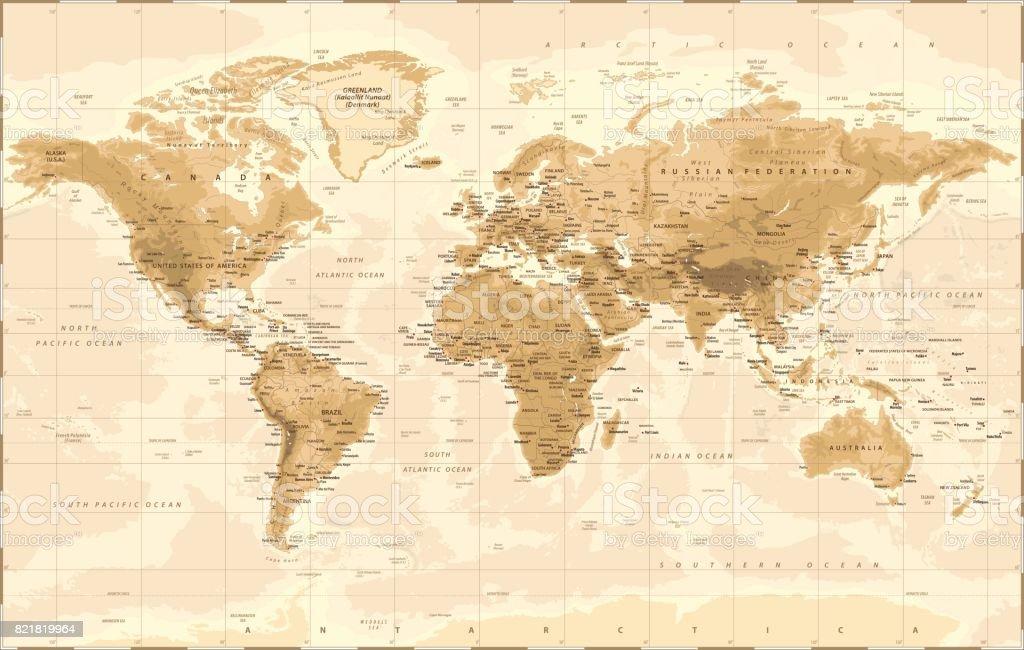 Mapa de mundo físico vetor Vintage - ilustração de arte em vetor