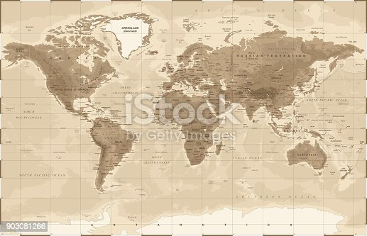 World Map Physical Vintage - vector illustration