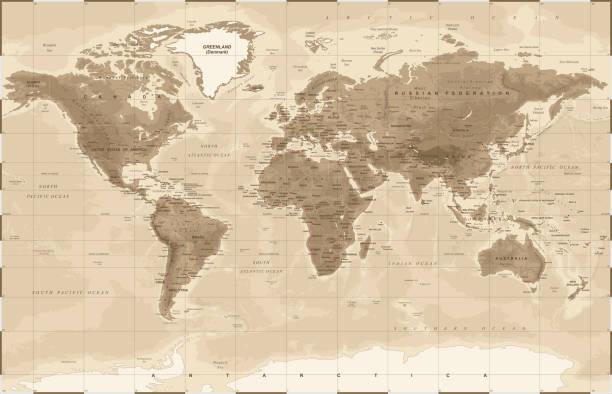 世界地図の物理的なヴィンテージ - ベクトル - ビンテージの地図点のイラスト素材/クリップアート素材/マンガ素材/アイコン素材