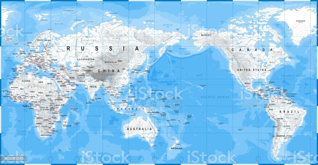 Japan Karte Physisch.Welt Karte Physische White Asien Im Zentrum China Korea
