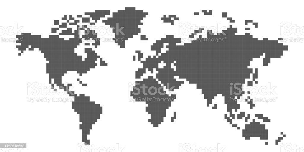 Art De Pixel De Carte Du Monde Vecteurs Libres De Droits Et