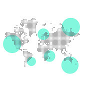 Vector illustration of a pixelated world map with highlight areas