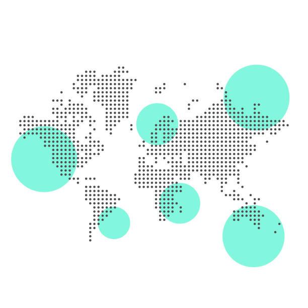 mapa świata pikselowa i najważniejsze obszary - globalny stock illustrations