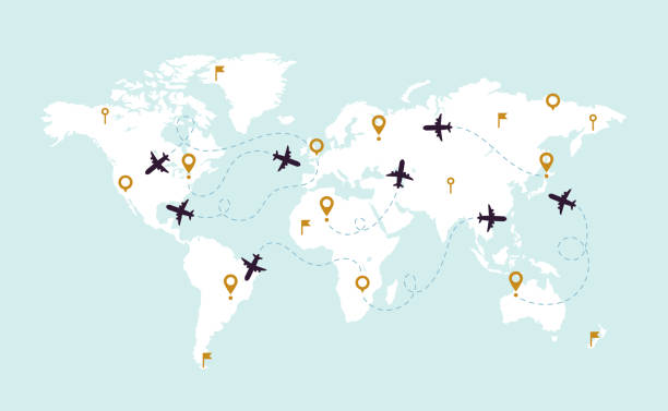 world map plane tracks. aviation track path on world map, airplane route line and travel routes vector illustration - commercial airplane stock illustrations