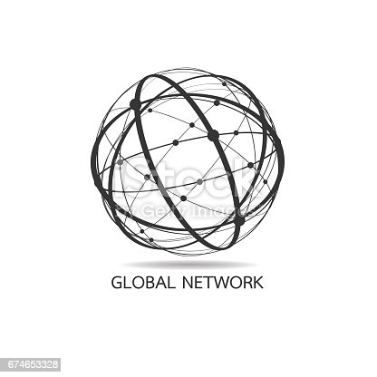 World map point, line, composition, representing the global, Global network connection
