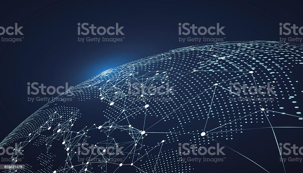 Carte du monde de points, ligne, la composition, représentant le monde. carte du monde de points ligne la composition représentant le monde vecteurs libres de droits et plus d'images vectorielles de abstrait libre de droits