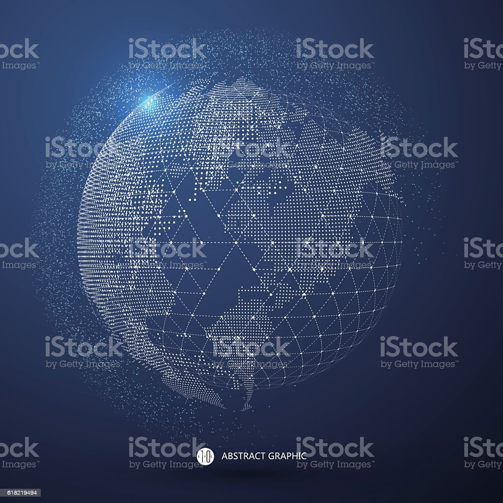 World map point, line, composition,international meaning. vector art illustration