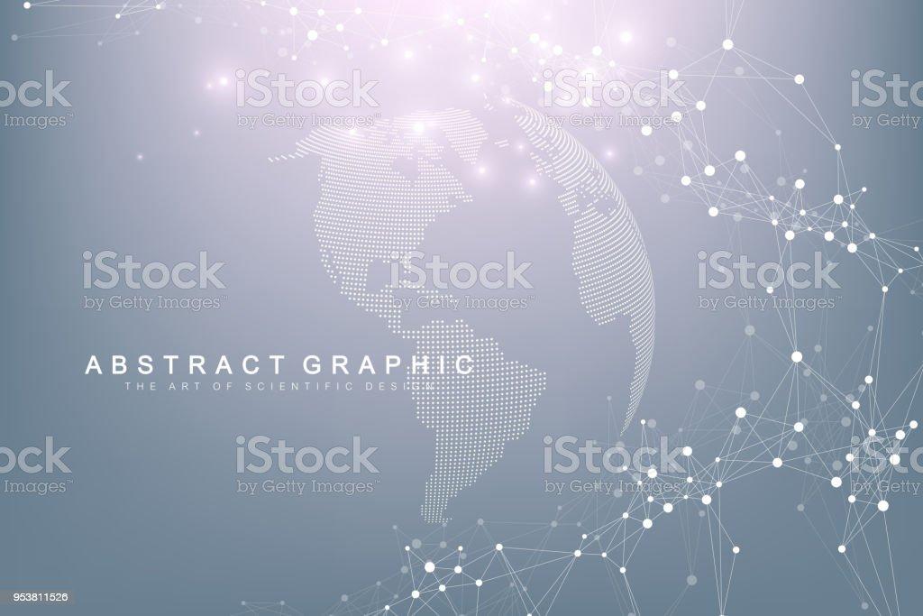 Weltkarte mit globalen Technologie-Networking-Konzept zeigen. Visualisierung von digitalen Daten. Linien-Plexus. Großen Hintergrund Datenkommunikation. Wissenschaftliche Vektor-illustration Lizenzfreies weltkarte mit globalen technologienetworkingkonzept zeigen visualisierung von digitalen daten linienplexus großen hintergrund datenkommunikation wissenschaftliche vektorillustration stock vektor art und mehr bilder von afrika