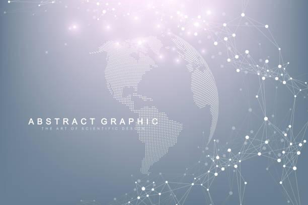 punkt mapy świata z globalną koncepcją sieci technologicznych. wizualizacja danych cyfrowych. linie splotu. komunikacja w tle big data. ilustracja wektora naukowego - globalny stock illustrations