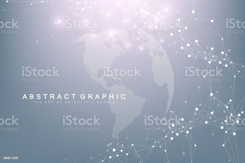 World map point with global technology networking concept. Digital data visualization. Lines plexus. Big Data background communication. Scientific vector illustration vector art illustration