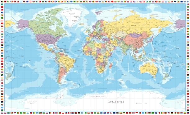 Cartina Mondo Alta Risoluzione.Planisfero Politico Illustrazioni E Vettori Stock Istock