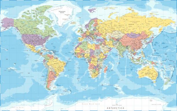 World Map - Political - Vector Detailed Illustration World Map Political - Vector Detailed Illustration atlantic ocean stock illustrations