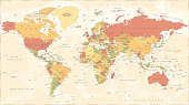World Map Political Vintage Vector