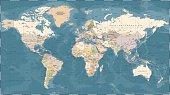 World Map Political Vintage Vector
