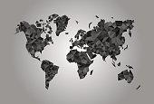 World Map polygonal precision low-poly black coal mining