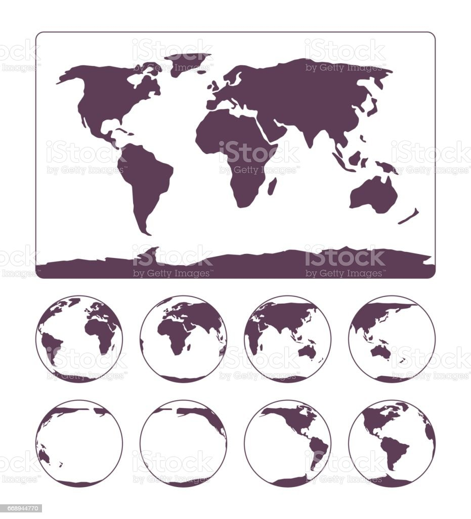World Map projection showing surface of the Earth and globe vector art illustration