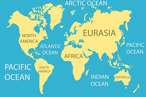 Carte Du Monde Carte Du Monde Realiste Avec Les Continents Et Les Oceans Vecteurs Libres De Droits Et Plus D Images Vectorielles De Abstrait Istock