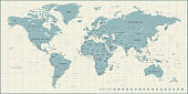 High detailed Vintage World Map with Borders, Cities, Oceans