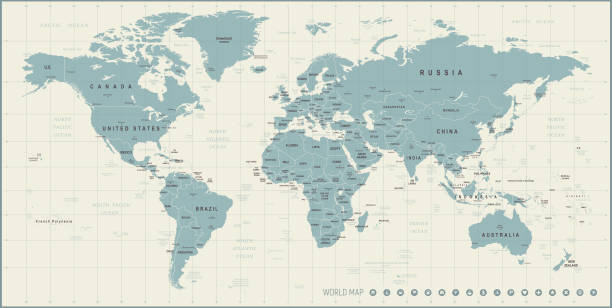 World Map. Retro Vector illustration High detailed Vintage World Map with Borders, Cities, Oceans continent geographic area stock illustrations