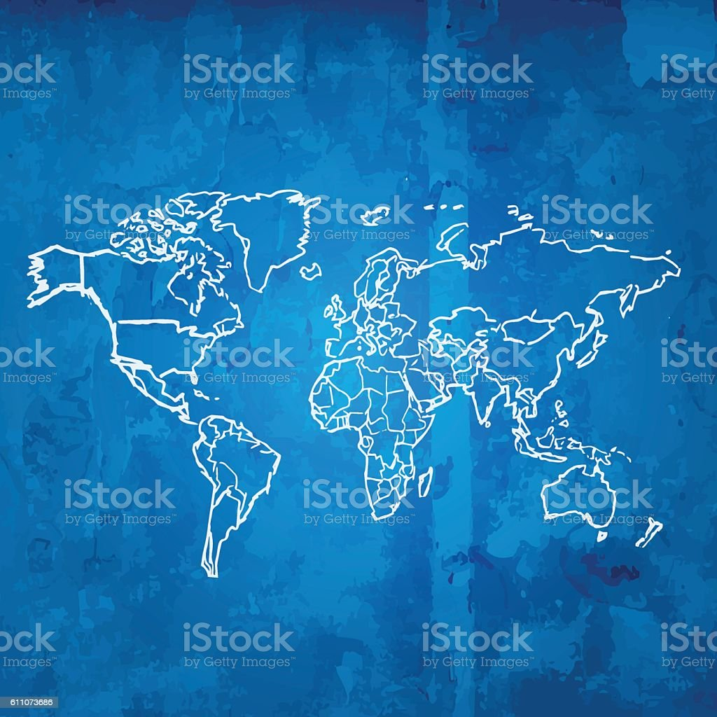 World map scribbled white on blueprint grid grunge background arte world map scribbled white on blueprint grid grunge background world map scribbled white on blueprint grid gumiabroncs Gallery