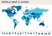 World map seperated countries with icons