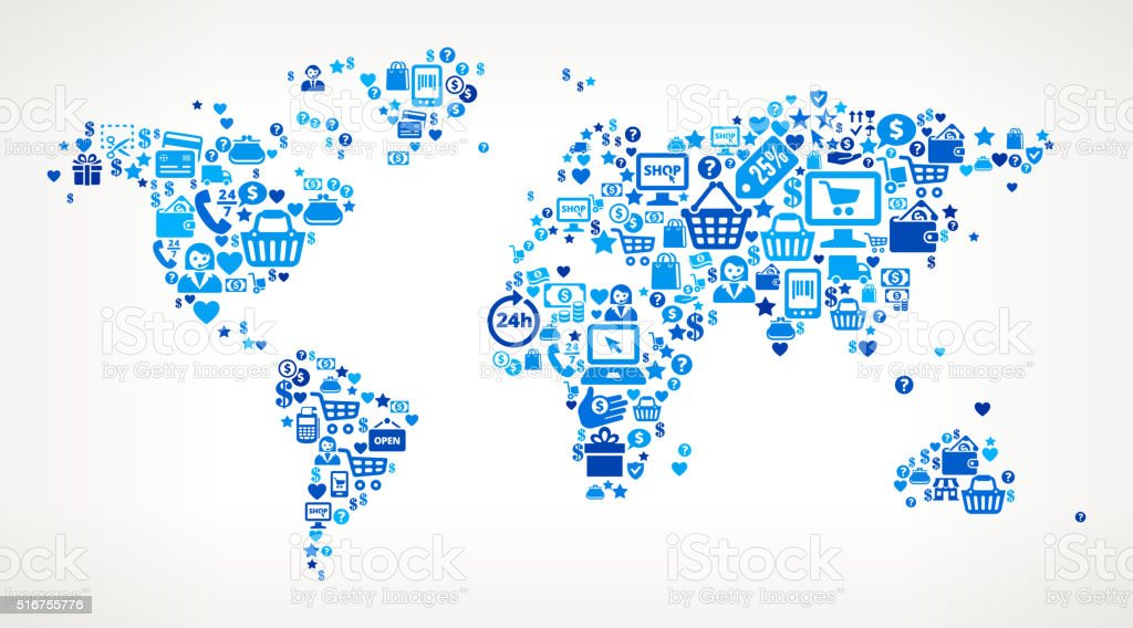 World Map Shopping and Commerce Blue Icon Pattern vector art illustration