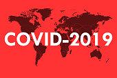 World map showing the risk of spreading COVID-2019 coronavirus