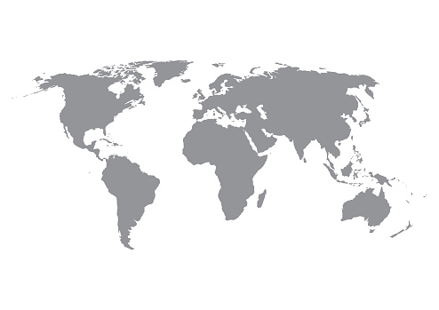 World map silhouette in grey isolated on white background.