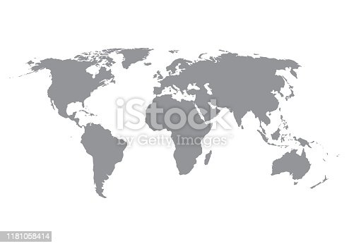 World map silhouette in grey isolated on white background. Vector illustration.