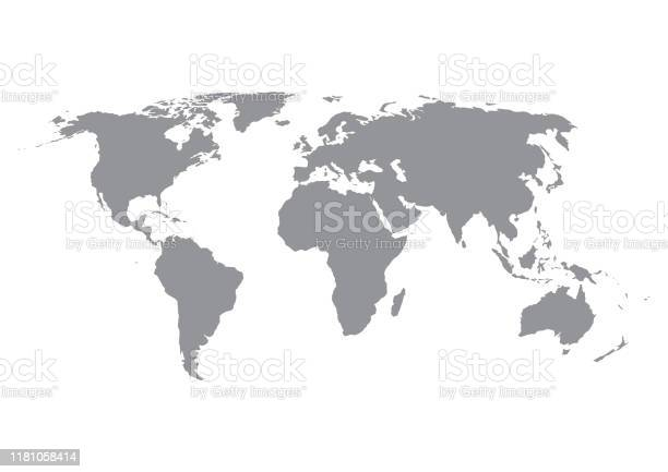 World Map Silhouette In Grey Isolated On White Background - Arte vetorial de stock e mais imagens de Abstrato