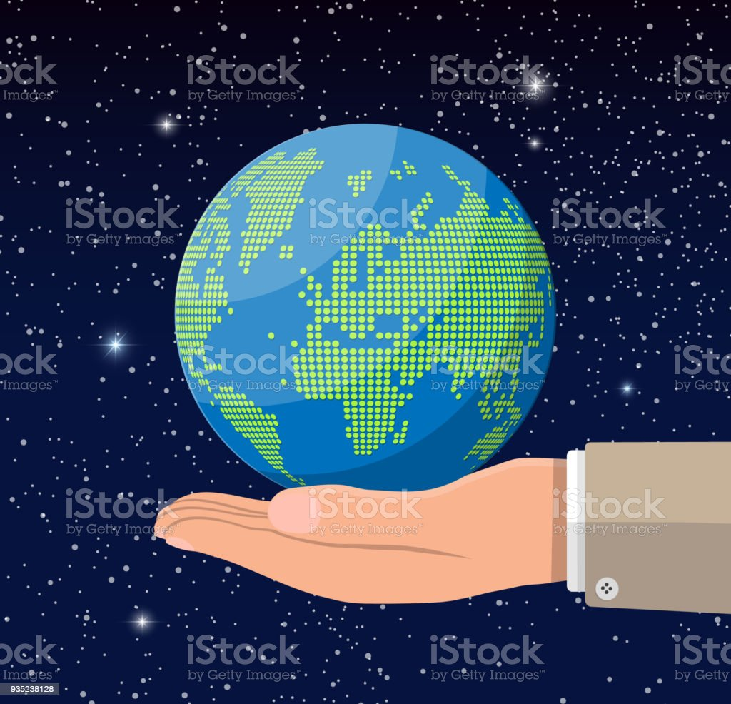 World map silhouette in hand globe dots in space stock vector art world map silhouette in hand globe dots in space royalty free world map silhouette gumiabroncs Gallery