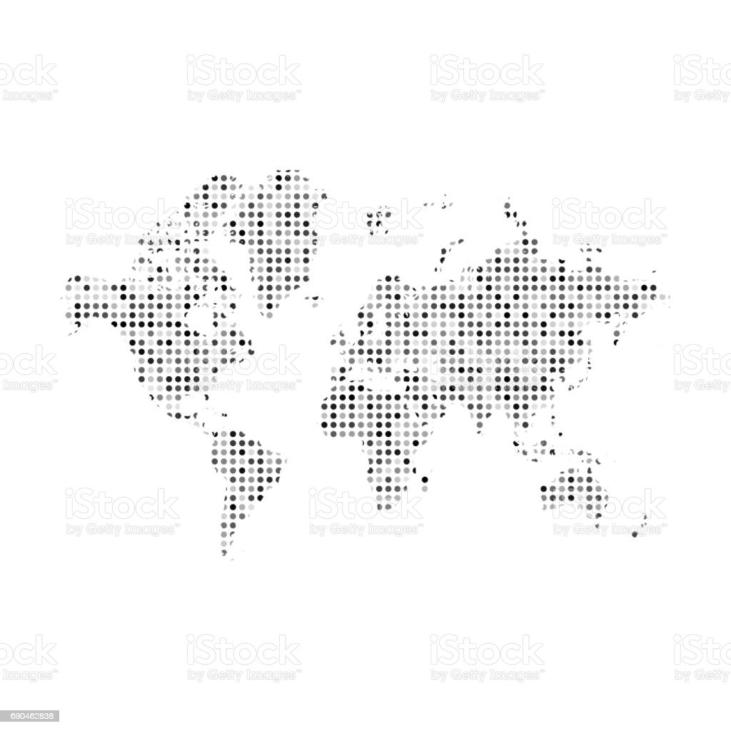 World map silhouette with abstract dots pattern stock vector art world map silhouette with abstract dots pattern royalty free world map silhouette with abstract dots gumiabroncs Images