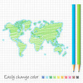 World Map drawn with colored pencils, isolated on a squared paper sheet. Easily change color : blue, green, yellow, orange, red, pink, brown, black.