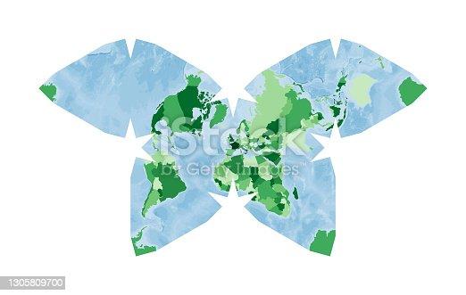 istock World Map. Steve Waterman's butterfly projection. 1305809700