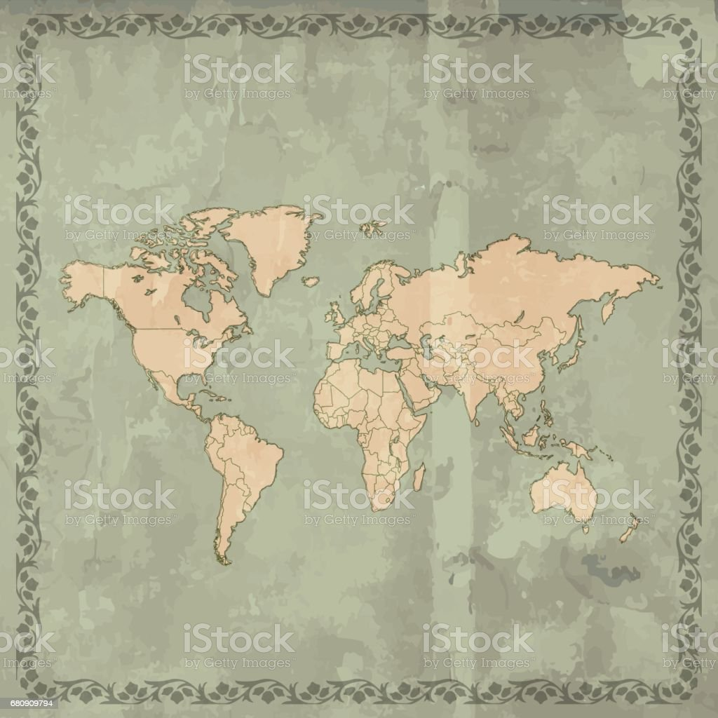 World map teal grunge retro style on wooden background royalty-free world map teal grunge retro style on wooden background stock vector art & more images of art deco