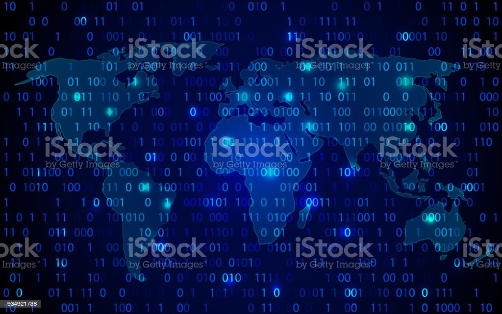 World map technology with decryption and encryption binary number world map technology with decryption and encryption binary number code vector background blue abstract hi gumiabroncs Image collections