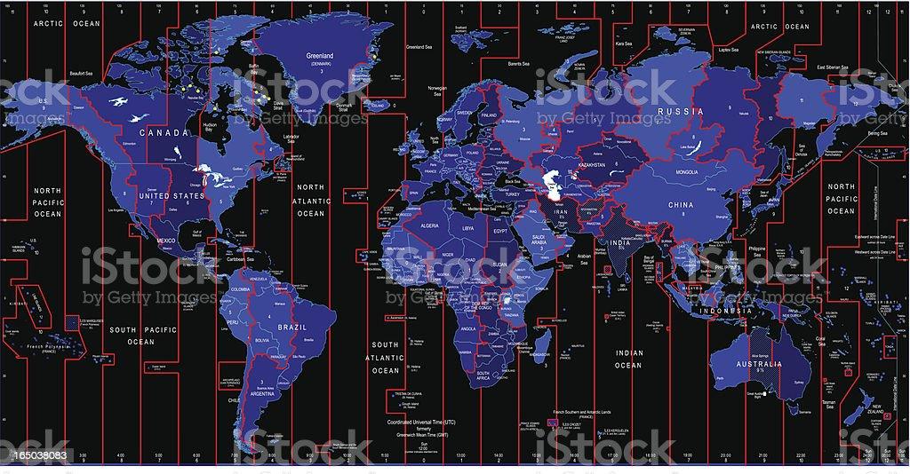 World Map -  Time Zones vector art illustration