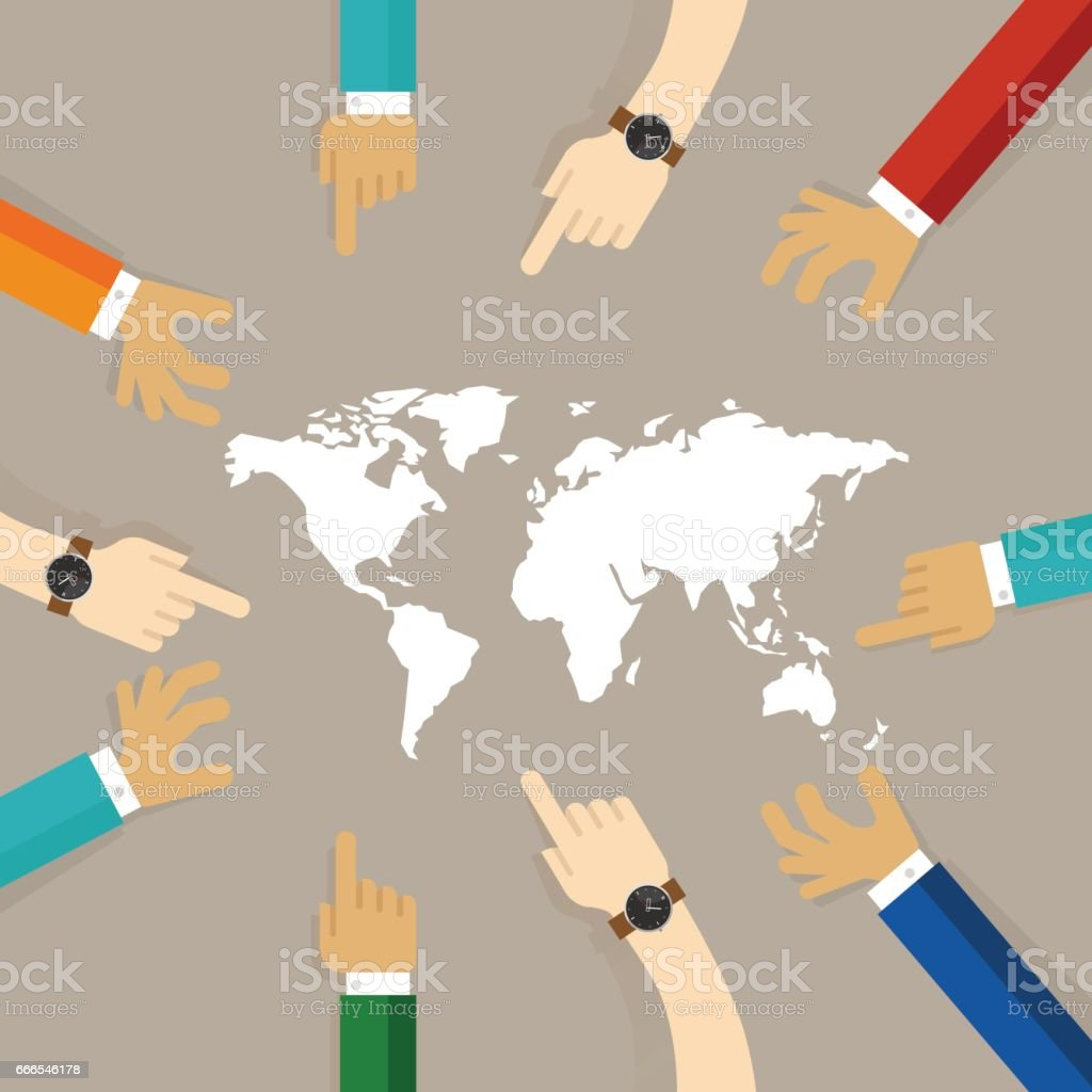 World map together hands pointing together concept of teamwork world map together hands pointing together concept of teamwork collaboration international relationship between countries royalty gumiabroncs Images
