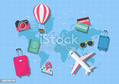 World map travel concept. Vector illustration