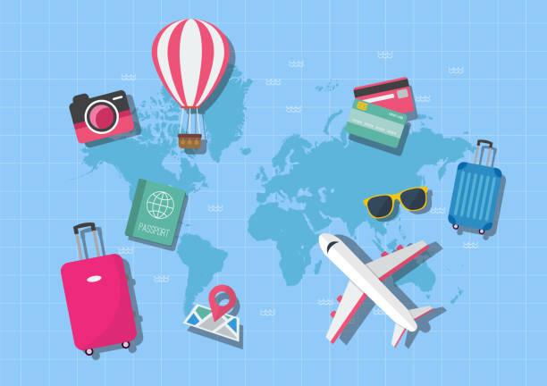 koncepcja podróży na mapie świata - podróżowanie stock illustrations