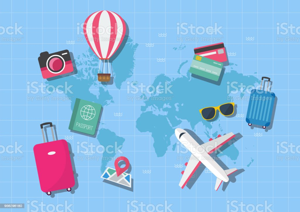 World map travel concept vector art illustration