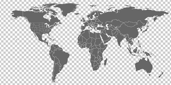 World Map vector. Gray similar world map blank vector on transparent background.  Gray similar world map with borders of all countries and States of USA map.  High quality world  map.  EPS10.