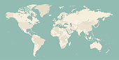 High Detailed World Map Contour - vector illustration