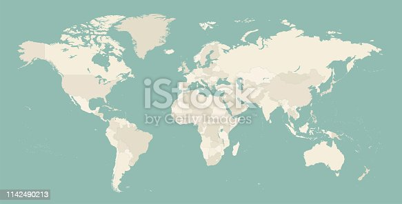 High Detailed World Map Contour - vector illustration