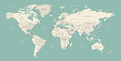 High Detailed World Map Color - borders, countries and cities - vector illustration
