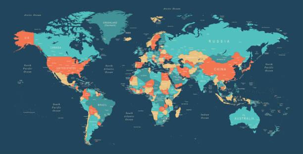 illustrazioni stock, clip art, cartoni animati e icone di tendenza di world map - world
