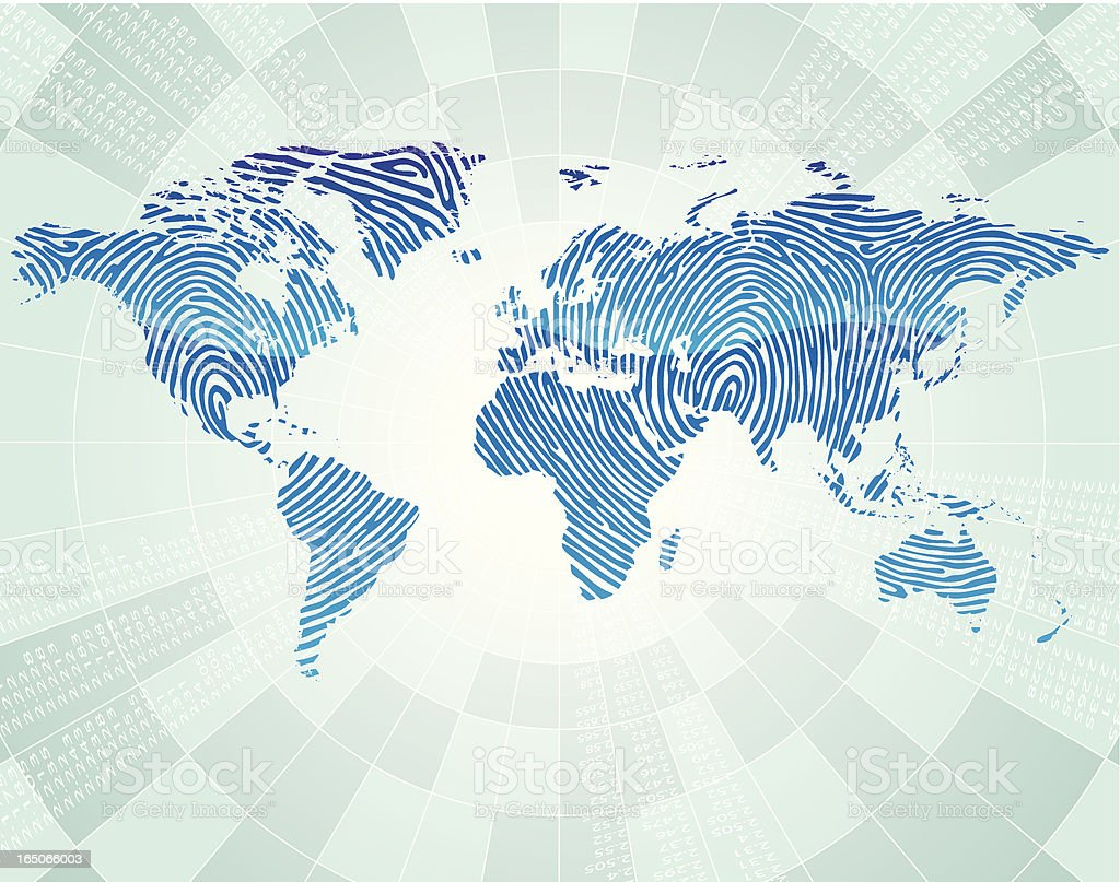 world map (finger print) royalty-free stock vector art